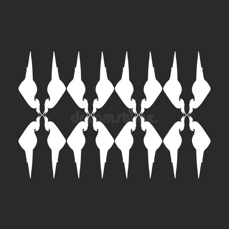 Kontrastmuster von Papageien Weiße Papageien auf einem schwarzen Hintergrund Abstraktion Auch im corel abgehobenen Betrag vektor abbildung