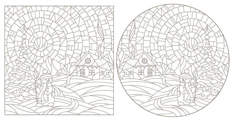 Kontrastset mit Illustrationen von Buntglasfenstern mit Winterlandschaften, dunklen Konturen auf weißem Hintergrund stock abbildung