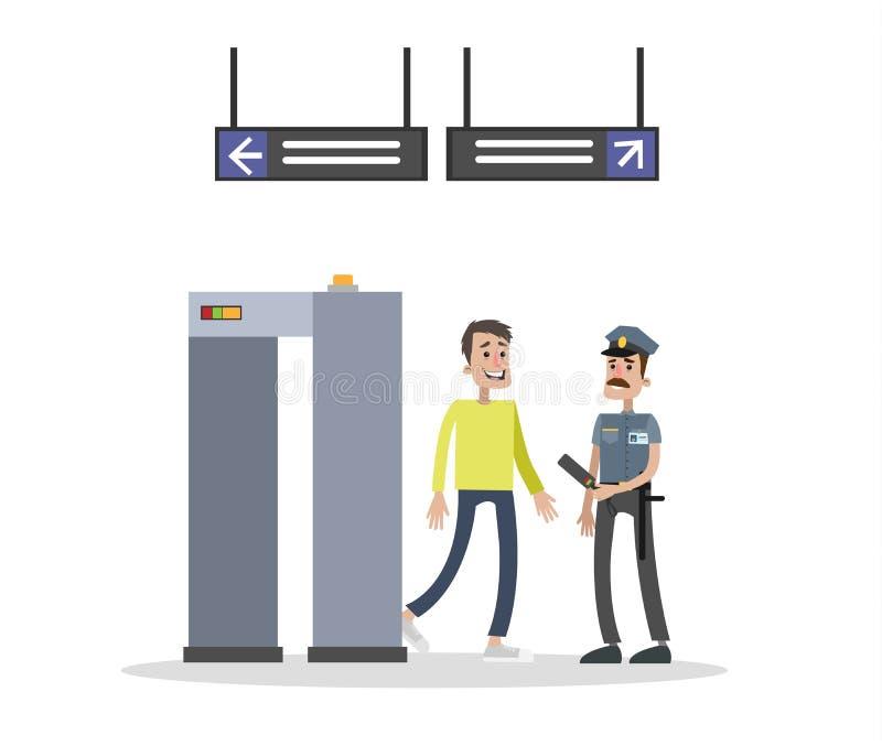 Kontrola bezpieczeństwa brama ilustracji