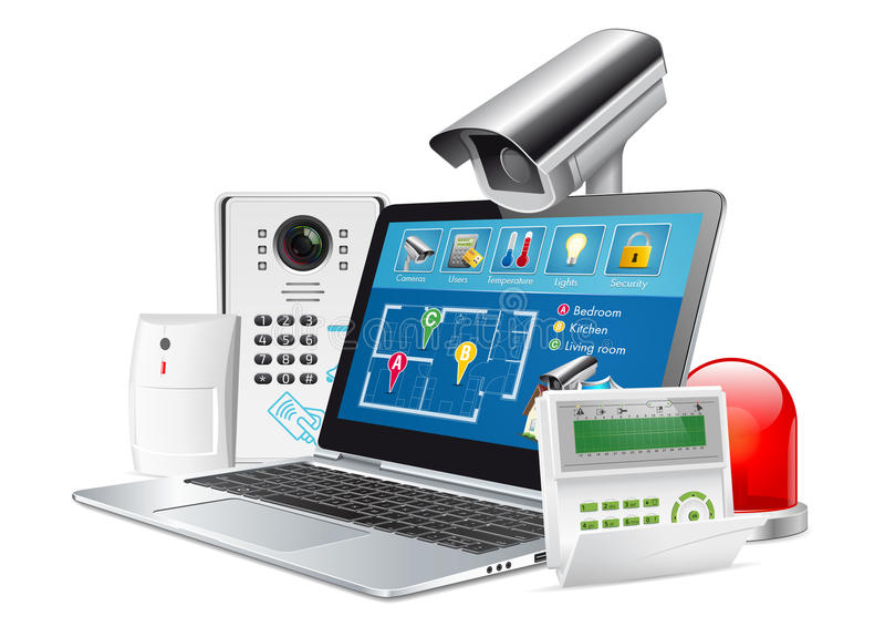 Kontrola dostępu - domowy system bezpieczeństwa ilustracja wektor