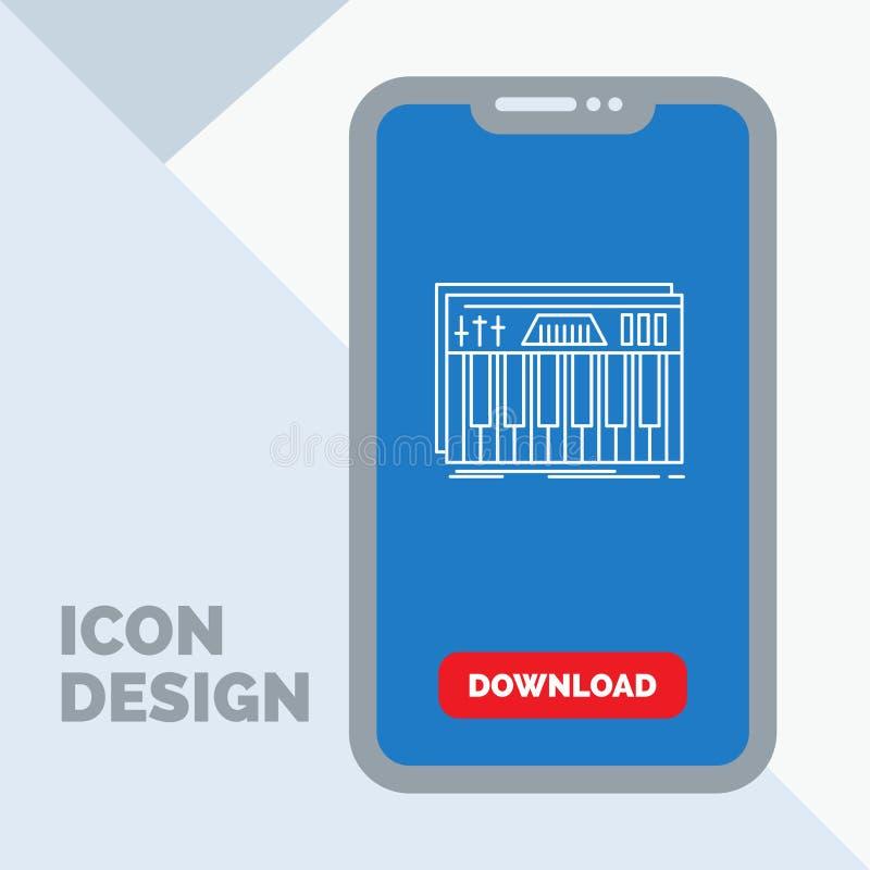Kontroler, klawiatura, klucze, Midi, dźwięk Kreskowa ikona w wiszącej ozdobie dla ściąganie strony ilustracji