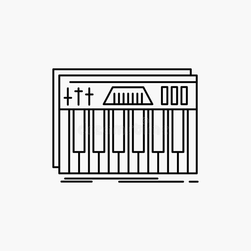 Kontroler, klawiatura, klucze, Midi, dźwięk Kreskowa ikona Wektor odosobniona ilustracja ilustracji