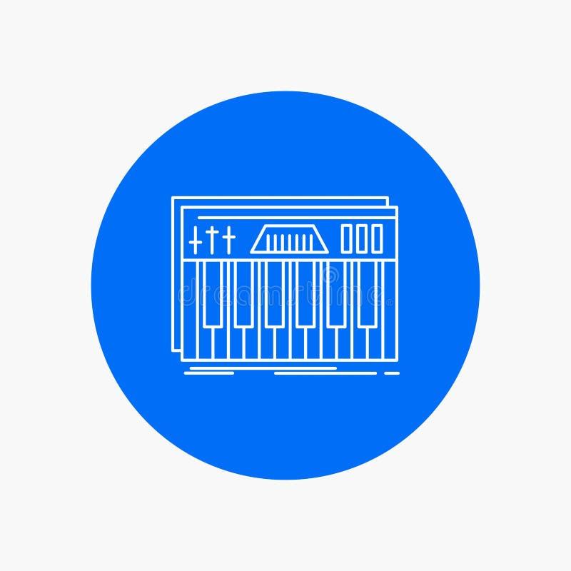 Kontroler, klawiatura, klucze, Midi, rozsądna Białej linii ikona w okręgu tle Wektorowa ikony ilustracja ilustracji