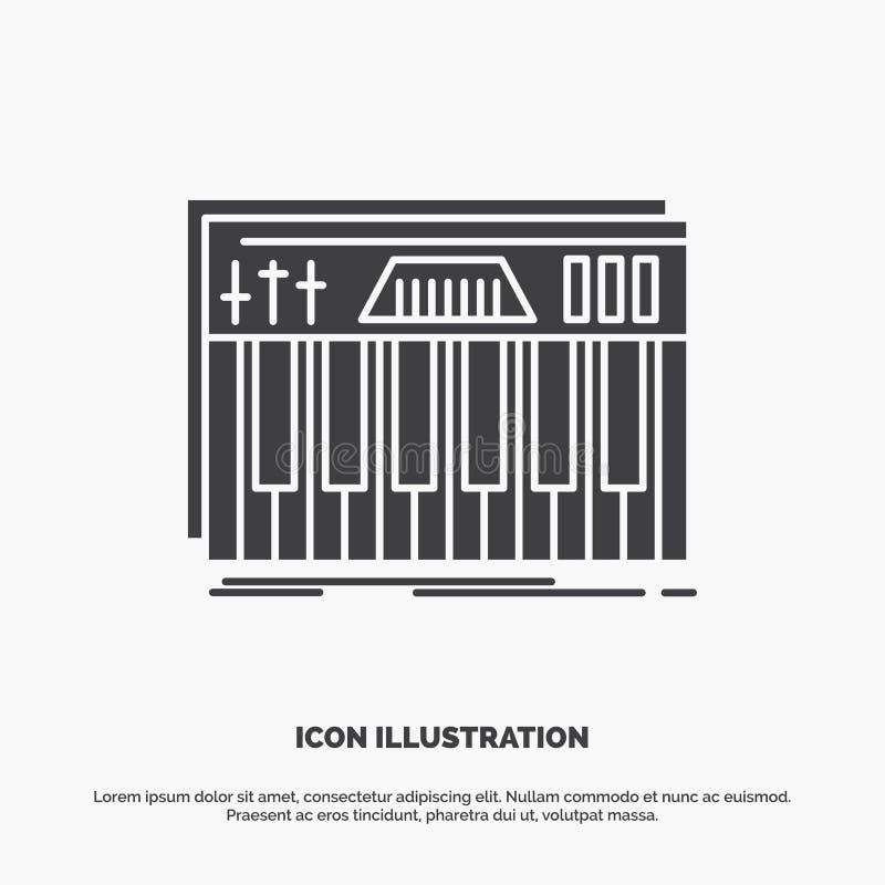Kontroler, klawiatura, klucze, Midi, rozsądna ikona glifu wektorowy szary symbol dla UI, UX, strona internetowa i wisz?cej ozdoby ilustracji