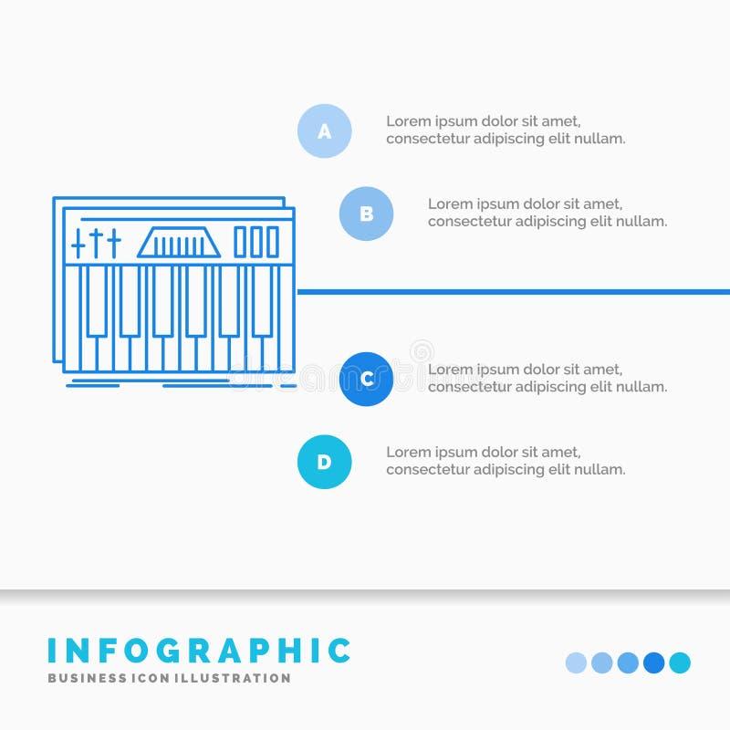 Kontroler, klawiatura, klucze, Midi, rozs?dny Infographics szablon dla strony internetowej i prezentacji Kreskowej B??kitnej ikon royalty ilustracja