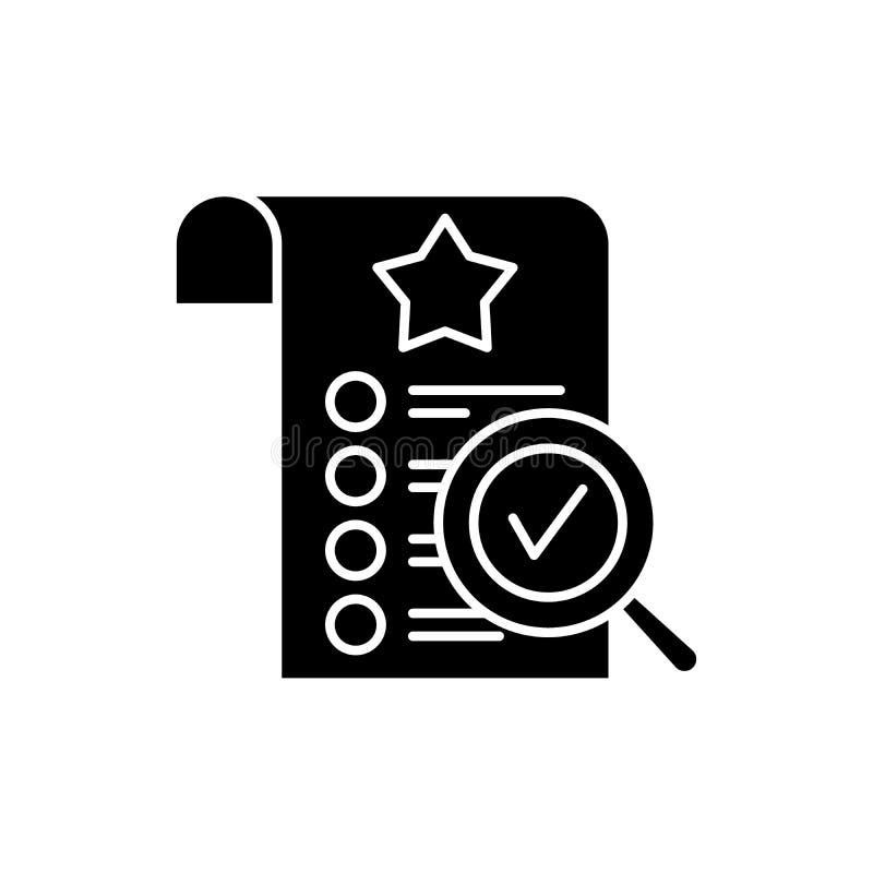 Kontroli jakości czarna ikona, wektoru znak na odosobnionym tle Kontroli jakości pojęcia symbol, ilustracja royalty ilustracja
