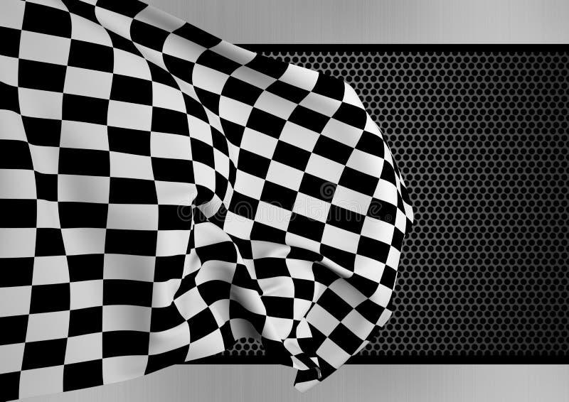 Kontrollörflagga mot digitalt frambragd bakgrund stock illustrationer