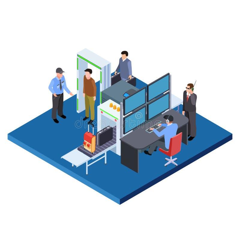Kontroll av bagage och personer, illustration av isometriska vektorer för säkerhetstjänst royaltyfri illustrationer