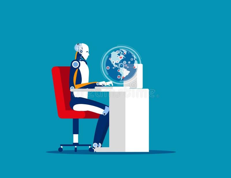 Kontroll av världsekonomin med hjälp av teknik Koncept för affärsvektor, illustration, hantering, uturism, fördelar stock illustrationer