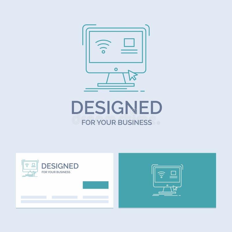 Kontroll dator, bildskärm, avlägsen smart affär Logo Line Icon Symbol för din affär Turkosaff?rskort med m?rke stock illustrationer