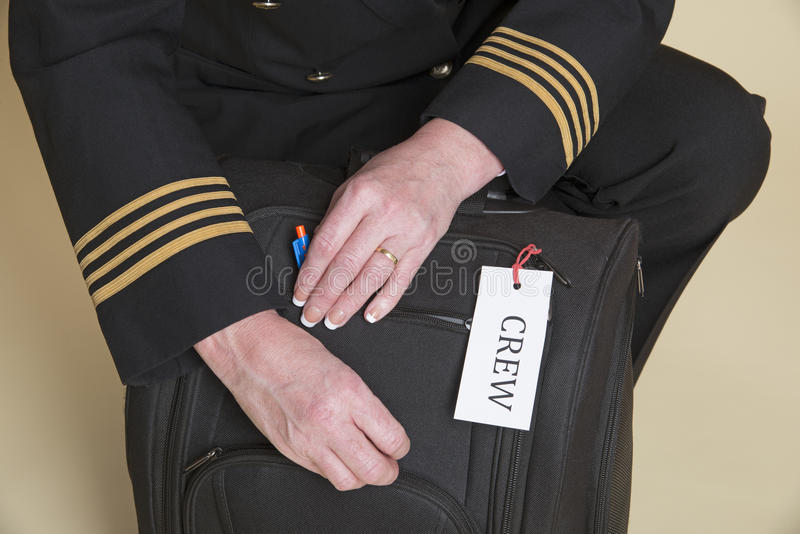 Kontroll för flygplansbesättningflygpåse arkivfoto