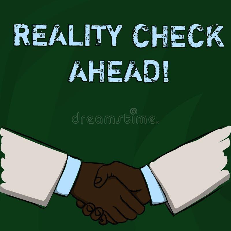 Kontroll f?r verklighet f?r ordhandstiltext fram?t Affärsidé för Unveil sanning som vet faktum för att undvika vara misstroget vektor illustrationer