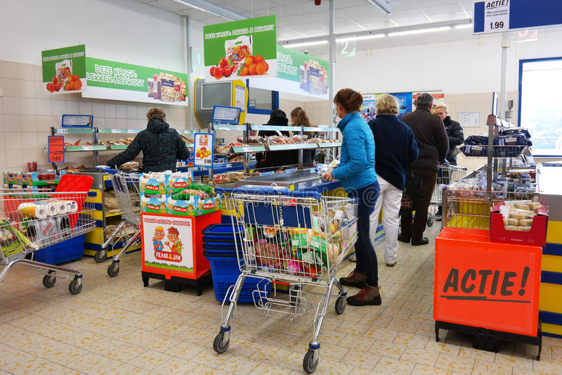 Kontroll på supermarket arkivbild