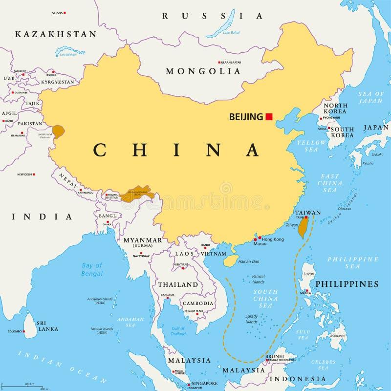 Kontroll- und behauptete Regionen Chinas, politischer Karte vektor abbildung