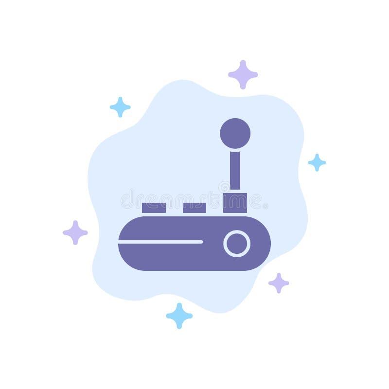 Kontrollant Joy Pad, Joy Stick, blå symbol för glädjeblock på abstrakt molnbakgrund royaltyfri illustrationer