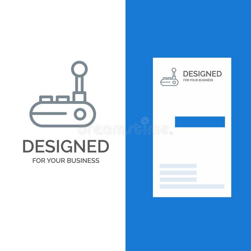 Kontrollant-, Joy Pad, Joy Stick, glädjeblock Grey Logo Design och mall för affärskort vektor illustrationer