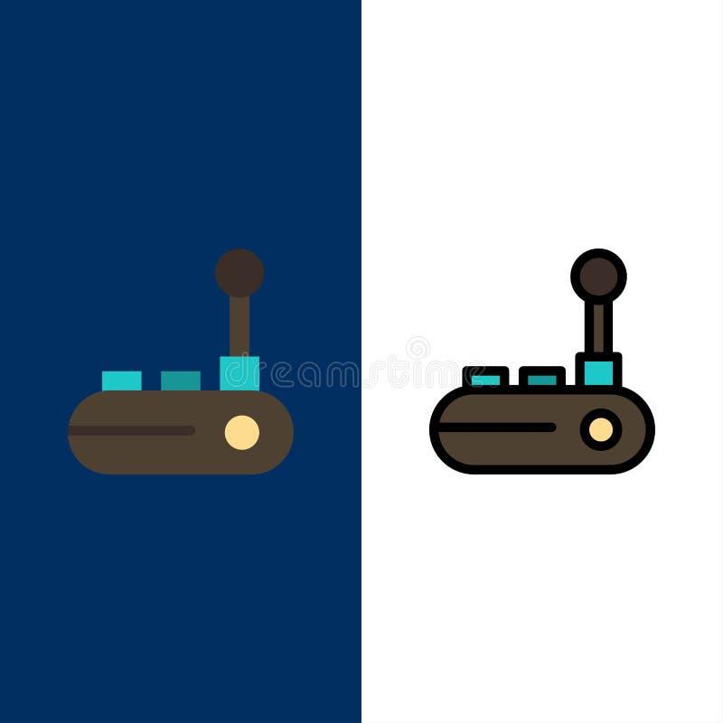 Kontrollant Joy Pad, Joy Stick, glädjeblocksymboler Lägenheten och linjen fylld symbol ställde in blå bakgrund för vektorn stock illustrationer