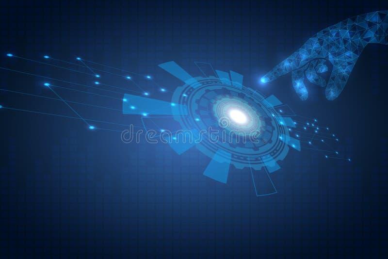 Kontrollbord av det smarta hem- systemet Vänt till den teknologiska cirkeln för sida Uppfinningen av framtiden vektor illustrationer