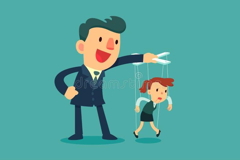 Kontrollemarionettengeschäftsfrauen des Geschäftsmannes vektor abbildung