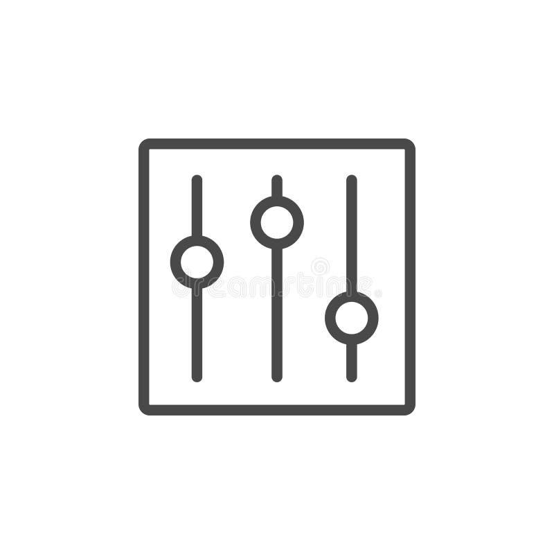 Kontrollen, Wahlen, Einstellungsvektorikone Entwurfs-Vektorikone der Multimedia unbedeutende lizenzfreie abbildung