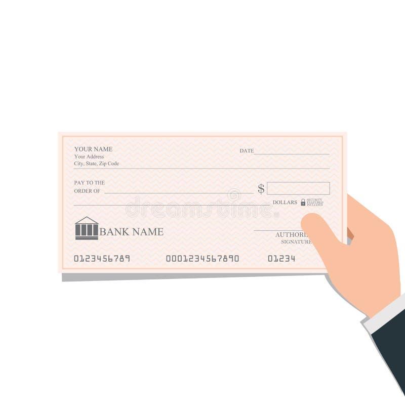 Kontroller för bank för affärsmaninnehavmellanrum eller checkbok på kulört stock illustrationer