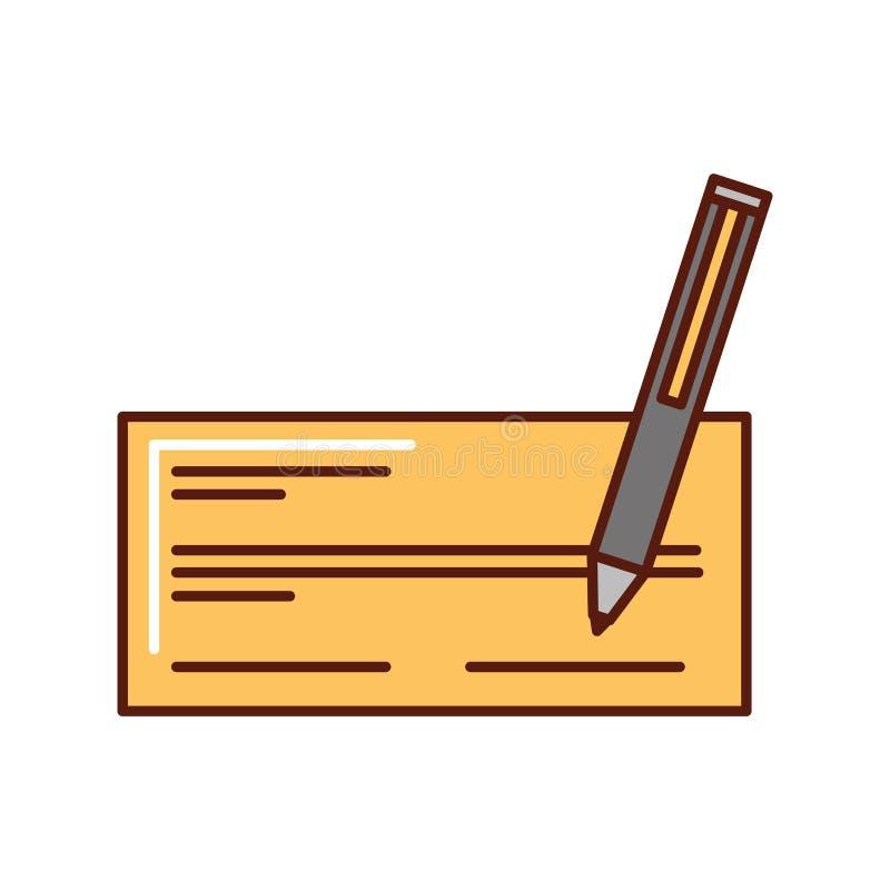 Kontrollera banken med pennsymbolen stock illustrationer
