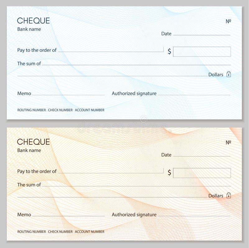 Kontrollera checkcheckbokmallen Guillochemodell med den abstrakta linjen vattenstämpel royaltyfri illustrationer