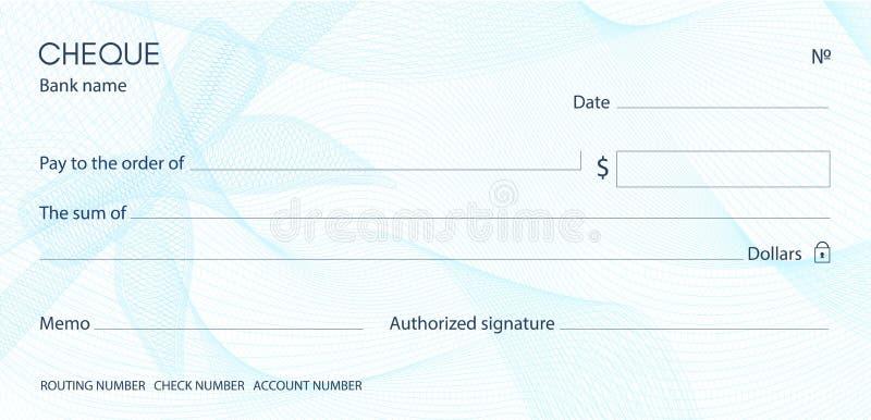 Kontrollera checkcheckbokmallen Guillochemodell med den blåa pilbågevattenstämpeln royaltyfri illustrationer