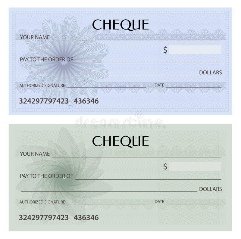 Kontrollera checken, checkbokmall Guillochemodell med vattenstämpeln, spirograph vektor illustrationer