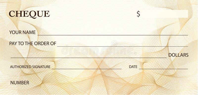 Kontrollera checken, checkbokmall Guld- linjer modellGuillochevattenstämpel royaltyfri illustrationer