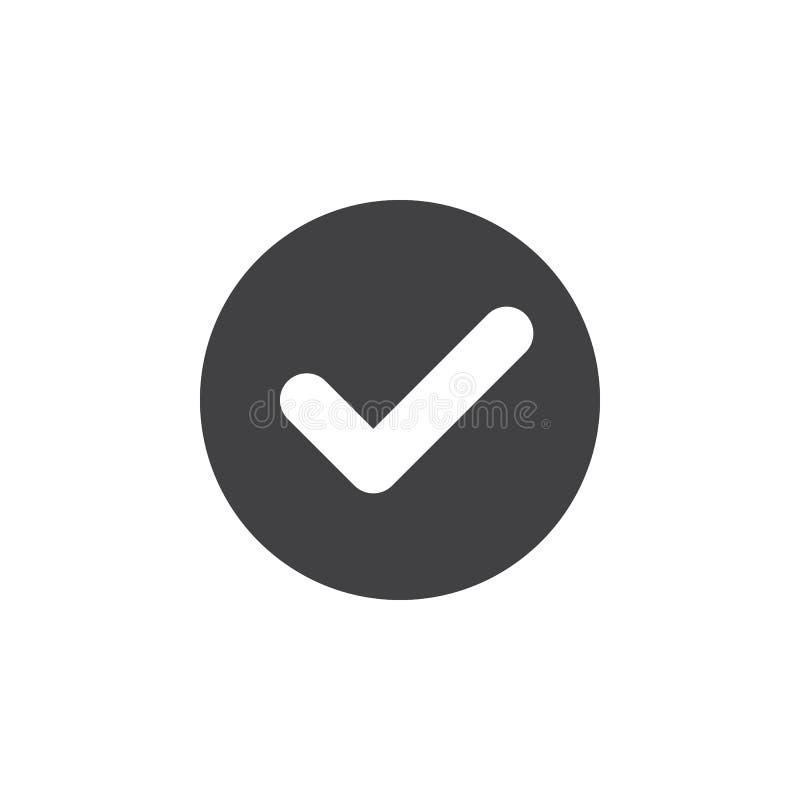 Kontrollera den plana symbolen för checkmarken Rund enkel knapp, runt vektortecken vektor illustrationer