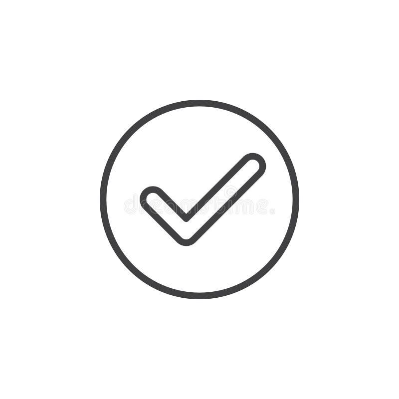 Kontrollera den runda linjen symbol för checkmarken Runt enkelt tecken stock illustrationer