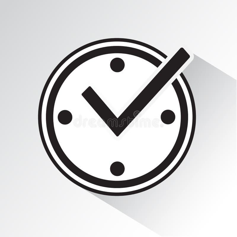 Kontrollera fläcken på klockan, realtidsskyddssymbol med skugga ocks? vektor f?r coreldrawillustration vektor illustrationer
