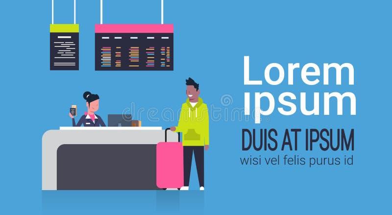 Kontrollera in flygplatsen med materialarbetaren på räknare- och afrikansk amerikanmanpassagerare med bagage, avvikelsebrädebegre vektor illustrationer