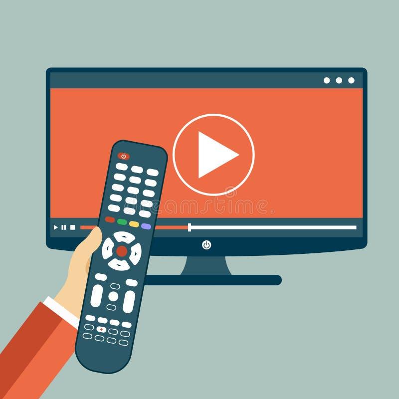 kontrollera handholdingremoten TVsymbolsbegrepp Leksymbol på television Smart tvbegrepp vektor illustrationer