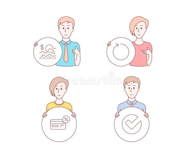 Kontrollera investeringen, Cashback och öglassymboler Verifiera tecknet Affärsrapporten, Icke-kassa betalning, förnyar vektor royaltyfri illustrationer