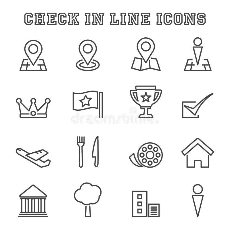 Kontrollera in linjen symboler royaltyfri illustrationer