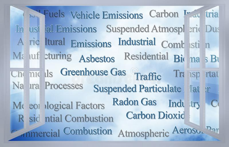 Kontrollera listan av det frialuftföroreningar som igenom ses ett öppet fönster - begreppsbild stock illustrationer