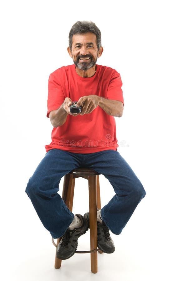 kontrollera manremoten fotografering för bildbyråer