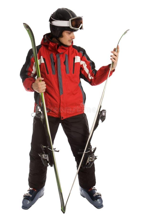 kontrollera skidar skieryttersida royaltyfri bild