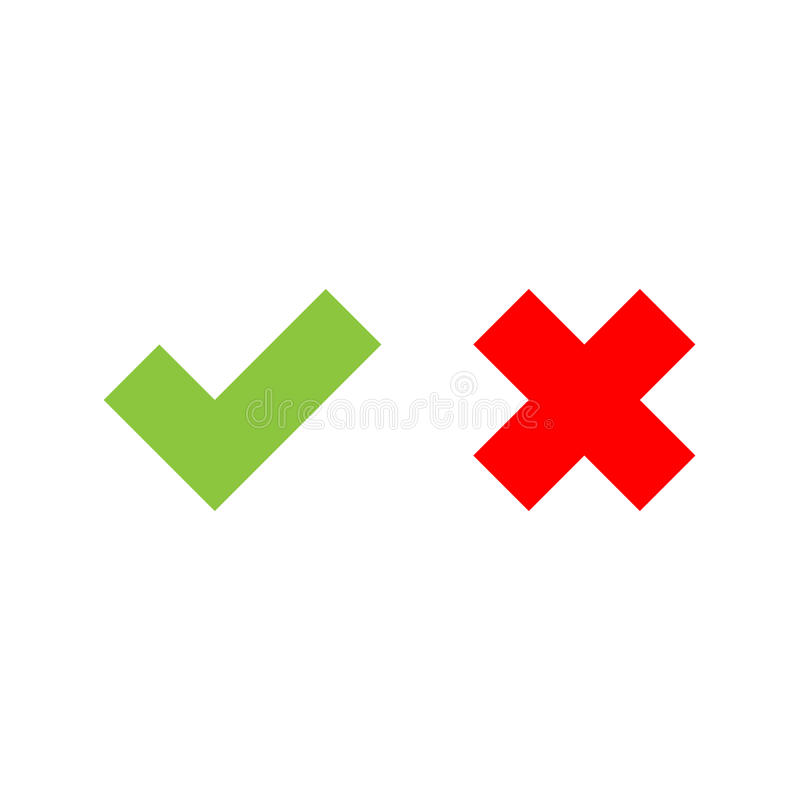 kontrollera symbolsfläcken Grönt tick och Röda kor Plan vektorillustration stock illustrationer