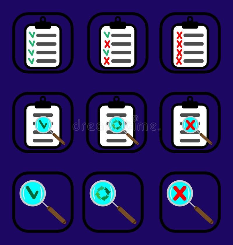 Kontrollera symbolsuppsättningen royaltyfri bild