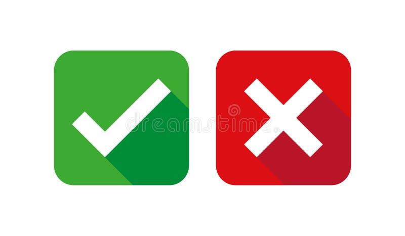 Kontrollera uppsättningen, gräsplan och rött för asklistasymboler som isoleras på vit bakgrund, vektorillustration vektor illustrationer