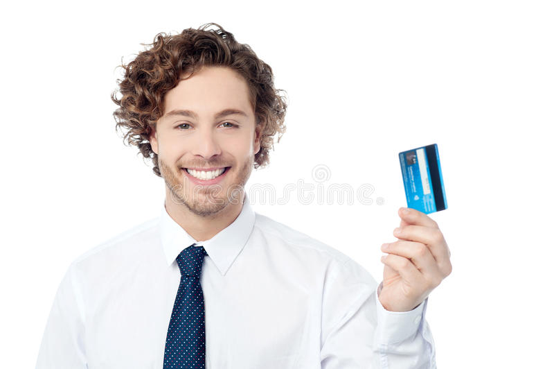 Kontrollera ut min nya exklusiva kreditkort arkivbild