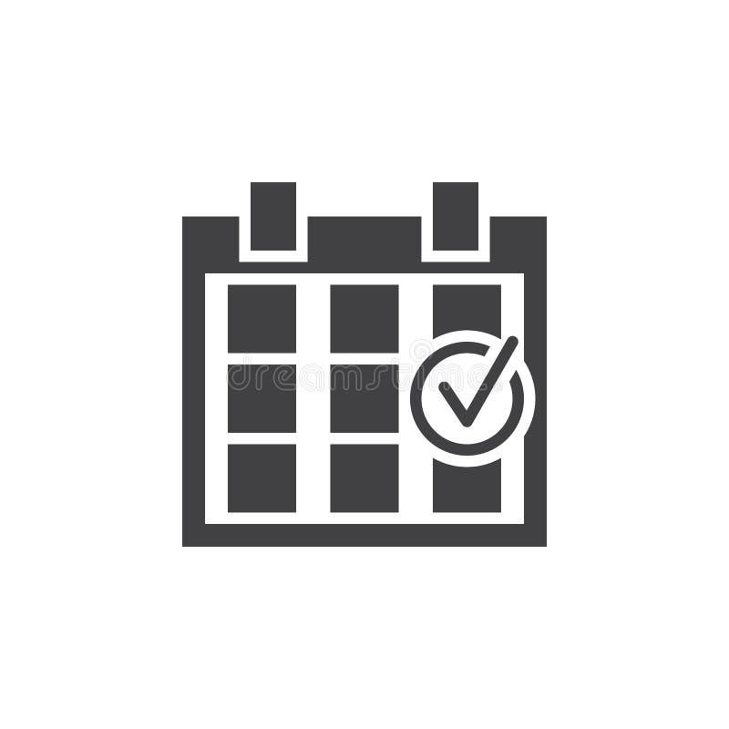 Kontrollerad kalendersymbol, fast logo för händelse, pictogramisolat stock illustrationer