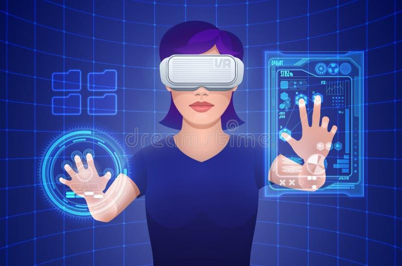 Kontrollerar den bärande virtuell verklighethörlurar med mikrofon för den unga nätta kvinnan den imaginära manöverenheten royaltyfri illustrationer