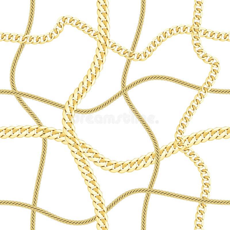 Kontrollerar guld- kedjor för vektor den sömlösa modellen på svart vektor illustrationer