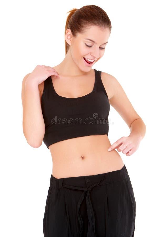 Kontrollerar Kvinnan För Fatnessmidjawhite Royaltyfri Foto