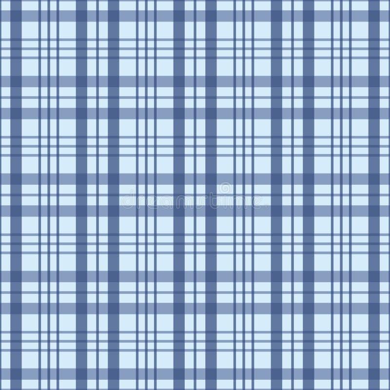 Kontrollerat sömlöst mönster i blått och vitt Ett mönster för geometrisk plätering av vektor stock illustrationer