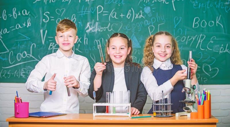 Kontrollergebnis Schulchemielektion Reagenzgl?ser mit bunten Substanzen Schullabor Gruppenschulsch?ler studieren stockfotos